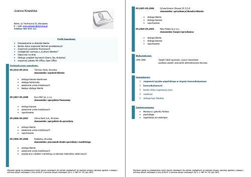 europejski wzór curriculum vitae doc