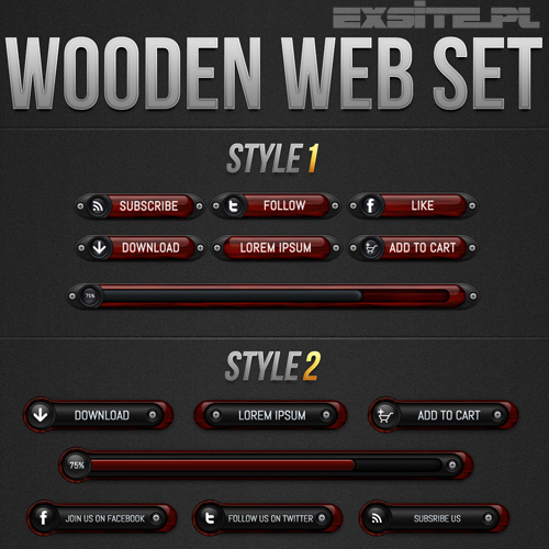 Wooden Elements Pack For Photoshop [PSD]